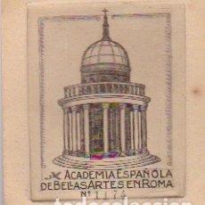 Arte: EX LIBRIS : ACADEMIA ESPAÑOLA DE BELLAS ARTES EN ROMA: GRABADO CALCOGRÁFICO DE TEMA ARQUITECTÓNICO. . Lote 143941090