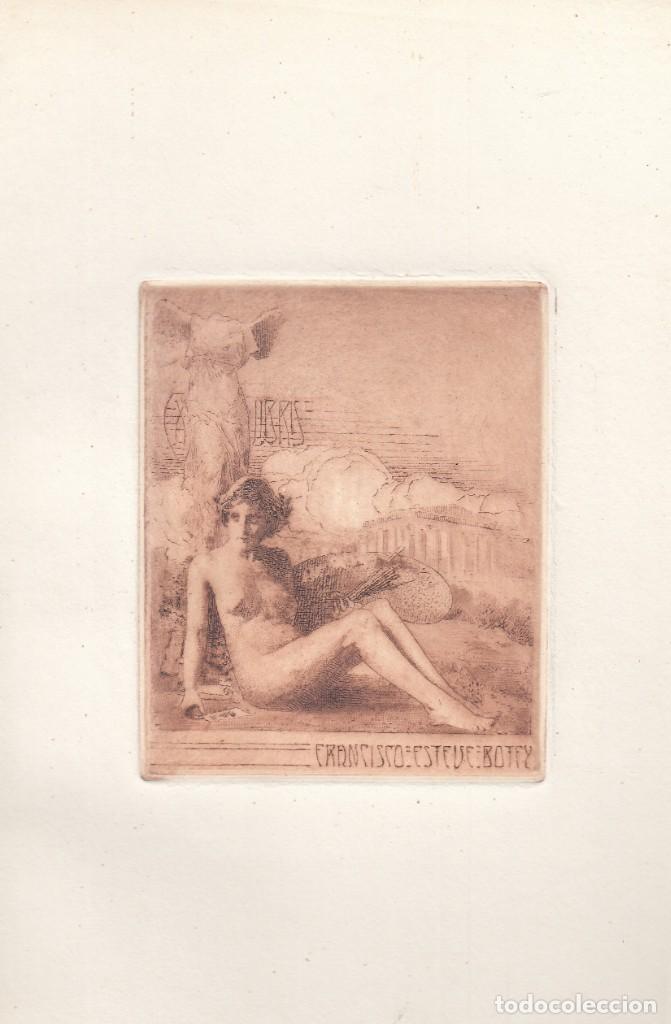 EXLIBRIS. FRANCISCO ESTEVE BOTEY. PUNTA SECA ORIGINAL ÉPOCA. PRECIOSO (Arte - Ex Libris)