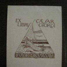 Arte: EX LIBRIS-CAESAR GIORGI-VER FOTOS-(X-2481). Lote 147063362