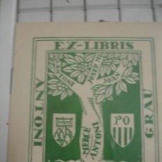 Arte: EX-LIBRIS ANTONI SEGALES GRAU - PORTAL DEL COL·LECCIONISTA *****. Lote 147445382