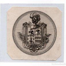 Arte: EX LIBRIS, POSIBLEMENTE DEL SIGLO XVIII. MIDE 8 X 8 CM. *CASTRO LO GRABÓ*.. Lote 147508294
