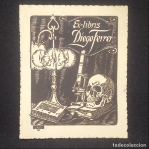 Ex-libris Diego Ferrer 10,4 x 8,4 realizado por Ignasi Vidal