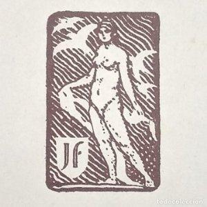 Ex-libris J F EX-LIBRIS 5 x 3 cm sobre papel 14 x 11 cm