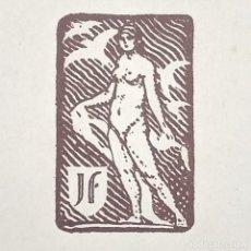 Arte: EX-LIBRIS J F EX-LIBRIS 5 X 3 CM SOBRE PAPEL 14 X 11 CM. Lote 147719938