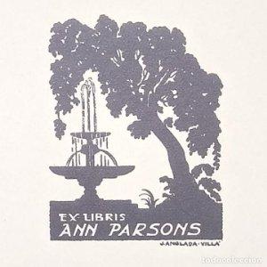 Ex-libris Ann Persons EX-LIBRIS 5 x 3,5 cm papel de 10,5 x 9 cm J. Anglada Villa