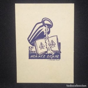 Ex-libris Horace Deane EX-LIBRIS 5 x 3,5 cm papel de 9,5 x 6,5 cm J. Anglada Villa