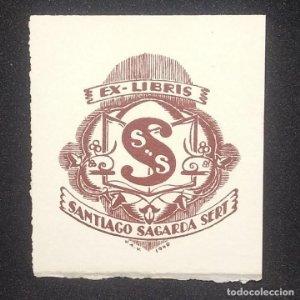 Ex-libris Santiago Sagarra Sert Ex libris 6 x 5 cm Ex-libris Joan ANglada Villa 1940
