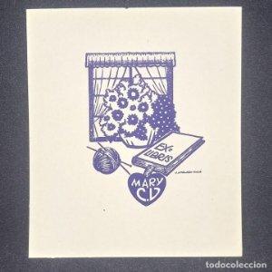 Ex-libris Mary C V Ex libris 7 X 5 cm papel de 10,5 X 9 cm J. Anglada Villa