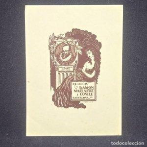 Ex-libris Ramón Mallafré i Conill Ex libris 7 X 4 cm en papel de 10,5 X 7,5 cm J. Anglada Villa