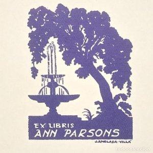 Ex-libris Ann Parsons Ex libris 5 x 4 cm en papel de 10,5 x 9 cm J. Anglada Villa