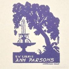 Arte: EX-LIBRIS ANN PARSONS EX LIBRIS 5 X 4 CM EN PAPEL DE 10,5 X 9 CM J. ANGLADA VILLA. Lote 147749170