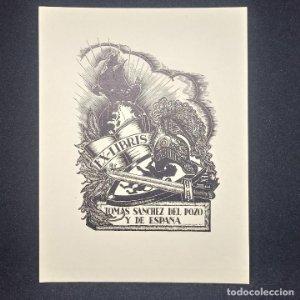 Ex-libris Tomás Sánchez del Pozo y de España Ex libris 10 x 7 cm en papel de 14 x 11 cm