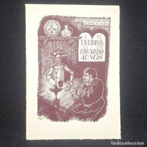 Ex-libris Eduardo Aunós Ex libris 10 x 6,5 cm en papel de 12,5 x 9 cm J. Anglada i Villa