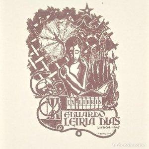 Eduardo Leiria Dias Ex libris 6 x 4 cm en papel de 12,5 x 7 cm J. Anglada i Villa. Lisboa 1947