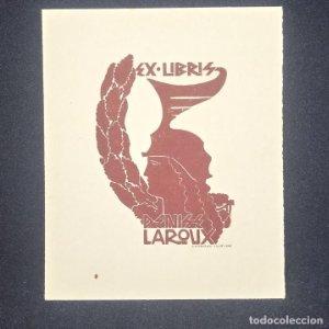 Ex-libris Denise Laroux Ex libris 7 x 4,5 cm en papel de 10,5 x 8,5 cm J. Anglada i Villa
