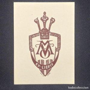 Ex-libris M V O Ex libris 7 x 3,5 cm en papel de 9 x 6,5 cm J. Anglada i Villa 1936