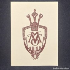 Arte: EX-LIBRIS M V O EX LIBRIS 7 X 3,5 CM EN PAPEL DE 9 X 6,5 CM J. ANGLADA I VILLA 1936. Lote 147752062