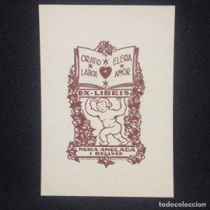 Ex-libris Nuria Anglada i Bellver Ex libris 7 x 3,5 cm en papel de 9 x 6 cm J. Anglada i Villa