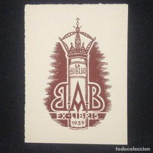 Ex-libris B A B 1939 Ex libris 7 x 4 cm en papel de 8,5 x 6.5 cm J. Anglada i Villa