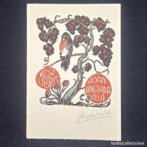 Ex-libris J. Anglada Villa Ex libris 8,5 x 7 cm en papel de 12,5 x 8.5 cm J. Anglada i Villa FIRMADO