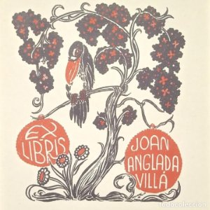 Ex-libris J. Anglada Villa Ex libris 8,5 x 7 cm en papel de 12 x 9 cm J. Anglada i Villa