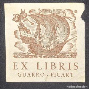 Ex-libris Guarro Picart 7 x 7 cm