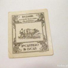 Arte: EX LIBRIS. DR. CASTILLO DE LUCAS. DOS BUEYES ARANDO. LO QUE VA A SER VA SIENDO. A. ESTRADA 1946.. Lote 148522474