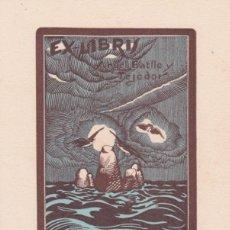 Arte: EX-LIBRIS DE JOSEP DE RIQUER PARA ANGEL BATLLE Y TEJEDOR . Lote 154410886