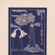 Arte: EX-LIBRIS DE JOSEP DE RIQUER PARA ANGEL BATLLE Y TEJEDOR - 1953. Lote 154414970