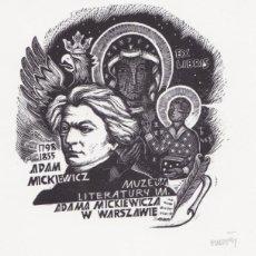 Arte: EX-LIBRIS DE ORIOL Mª DIVI PARA ADAM MICKIEWICZ – 1990 - (FIRMADO A LAPIZ). Lote 155786926