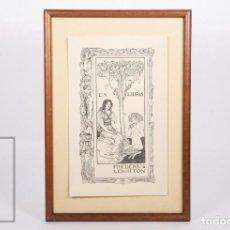 Arte: EXLIBRIS / EX LIBRIS ART NOUVEAU ENMARCADO - FREDERIC LEIGHTON - DISEÑO DE ROBERT ANNING BELL, 1894. Lote 155926866
