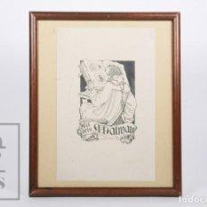 Arte: EXLIBRIS / EX LIBRIS ENMARCADO - ANTONI DALMAU - DON QUIJOTE VI, DISEÑO DE LUIS GARCÍA FALGÁS, 1920. Lote 155928058