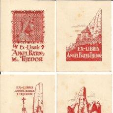 Arte: LOTE 12 EX-LIBRIS MONTSERRATINS - 1ª SERIE - ANGEL BATLLE - DIBUIX A LA PLOMA DE JOAN MAS I MASCARÓ. Lote 157825230