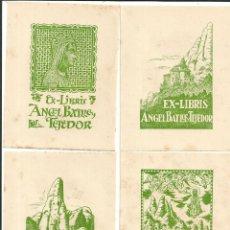 Arte: LOTE 12 EX-LIBRIS MONTSERRATINS - 1ª SERIE - ANGEL BATLLE - DIBUIX A LA PLOMA JOAN MAS MASCARÓ. Lote 157827190