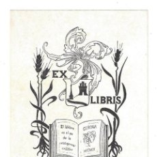 Arte: EX- LIBRIS.- IGNASI PRIM BALLE. DIBUJADO POR J. CODINA. Lote 158274706