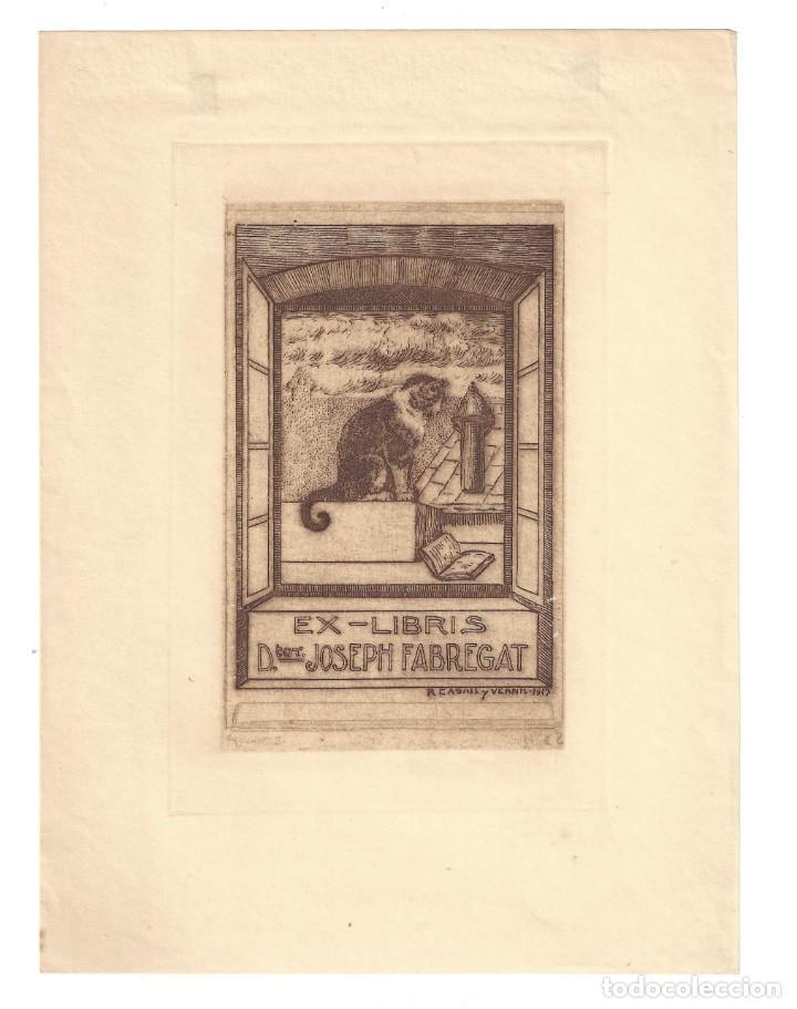 EX- LIBRIS. AGUAFUERTE.- DOCTOR JOSEPH FABREGAT. DIBUJADO POR RAMÓN CASALS I VERNÍS - 1917 (Arte - Ex Libris)