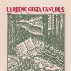 Arte: EXLIBRIS DE ROMÀ BONET I SINTES (BON) PARA LLORENÇ COSTA CANUDES. Lote 159067418