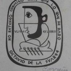 Arte: EXLIBRIS. GRABADO EN COBRE DE MARIO CARREÑO. COLECCIÓN DE OCTAVIO DE LA SUAREÉ. FIRMADO. CUBA.1949.. Lote 160063038