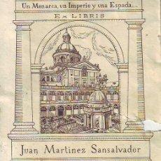 Art: EX-LIBRIS JUAN MARTINEZ SANSALVADOR POR RICARDO ABAD. AÑOS 40. Lote 171539470