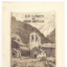 Arte: EX- LIBRIS. AGUAFUERTE.- JOAN BATLLE. DOLÇA CATALUNYA, PATRIA DEL MEU COR. DIBUJADO POR BRUNET. Lote 166153494