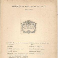 Arte: LÁMINA CON EX- LIBRIS.- CRISTÓVAO DE SOUSA DA SILVA. HERÁLDICA- 1927. Lote 182282903