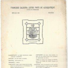 Arte: LÁMINA CON EX- LIBRIS.- FRANCISCO CALDEIRA LEITAO. CONDE DA BORRALHA. AGUEDA. SIGLO XX- 1927. Lote 182283172