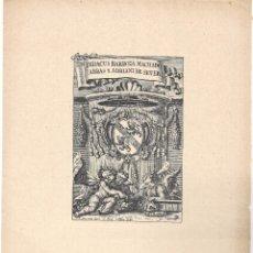 Arte: LÁMINA CON EX- LIBRIS.- DIOGO BARBOSA DE MACHADO. PATRIARCA DE LA BIBLIOGRAFÍA PORTUGUESA- 1927. Lote 182284505