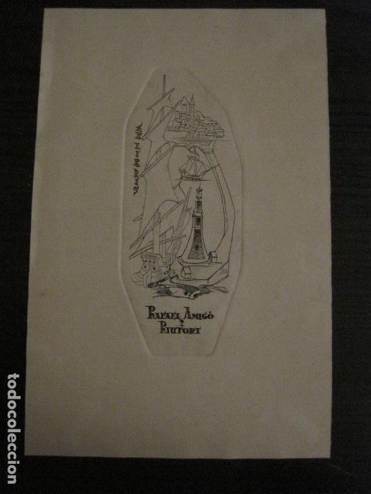 EX LIBRIS-RAFAEL AMIGO I RIUTORT-ALPRESA-GRABADO-VER FOTOS-(X-2692) (Arte - Ex Libris)