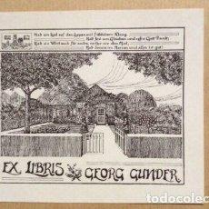 Arte: EX-LIBRIS EXLIBRIS PARA GEORG GUNDER. CASA JARDÍN. Lote 185785893