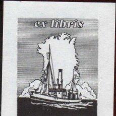 Arte: GIROEXLIBRIS.- EX LIBRIS HORNHAVER DK DEL TEMA BARCOS CON UNAS MEDIDAS DE 7 X 9 CENTÍMETROS . Lote 186132916