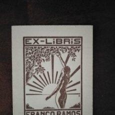 Arte: EXLIBRIS FRANCO RAMOS. 5,5 X 7,5 CMS. ORIGINAL . Lote 189618418