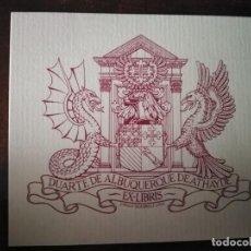 Arte: EXLIBRIS DUARTE DE ALBURQUERQUE. DRAGÓN Y GRIFO. 7,1 X 8,1 CMS. ORIGINAL. . Lote 189618941