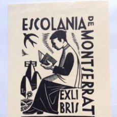Art: EX-LIBRIS EXLIBRIS BOOKPLATE ORIOL MARIA DIVÍ, OPUS 8, 1965. ESCOLANÍA MONTSERRAT. Lote 190121532