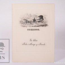 Arte: ANTIGUO EXLIBRIS / EX-LIBRIS GRABADO - CARRETA DE CORREOS / PEDRO MONGE Y PINEDA - MED. 13 X 17,5 CM. Lote 190792596